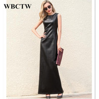 Sleeveless Black Maxi PU Dress Solid Casual Sexy Slim Autumn Summer Faux Leather Woman Dress Large