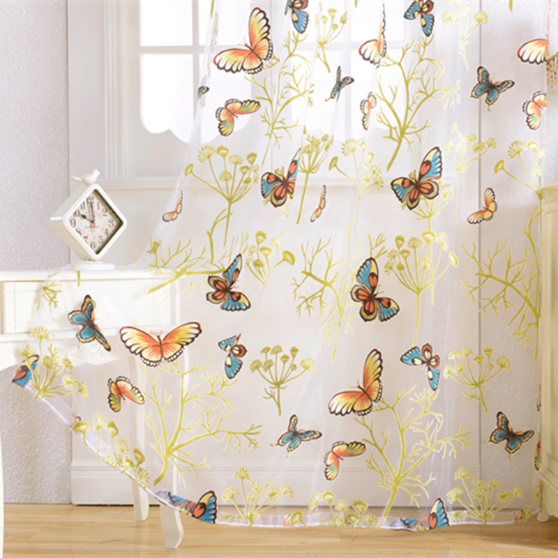 Senisaihon Europe Colorful Butterfly Curtains Window Decoration Semi-shading Tulle Curta ...