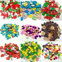 100pcs Colorful Random Mixed Wood Button Christmas Heart Flower Shaped Wooden For Clothing DIY Sewing Accessories