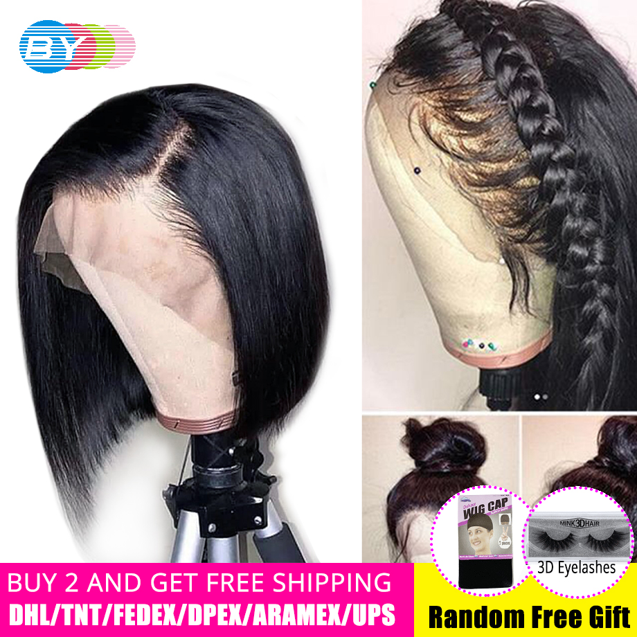 360 Hd Lace Frontal Wig Pre Plucked Brazilian Straight Hair Bob Wigs With Baby Hair BY