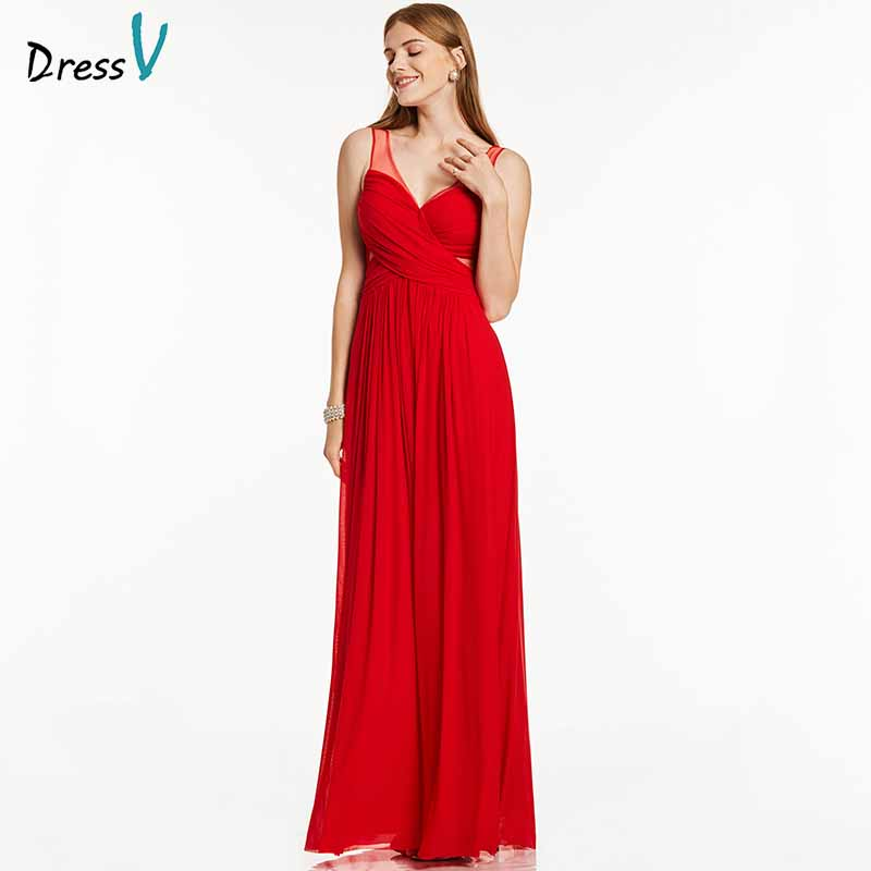 Dressv Red Long Evening Dress Cheap V Neck Backless A Line Sleeveless Floor Length Wedding Party Formal Dress Evening Dresses