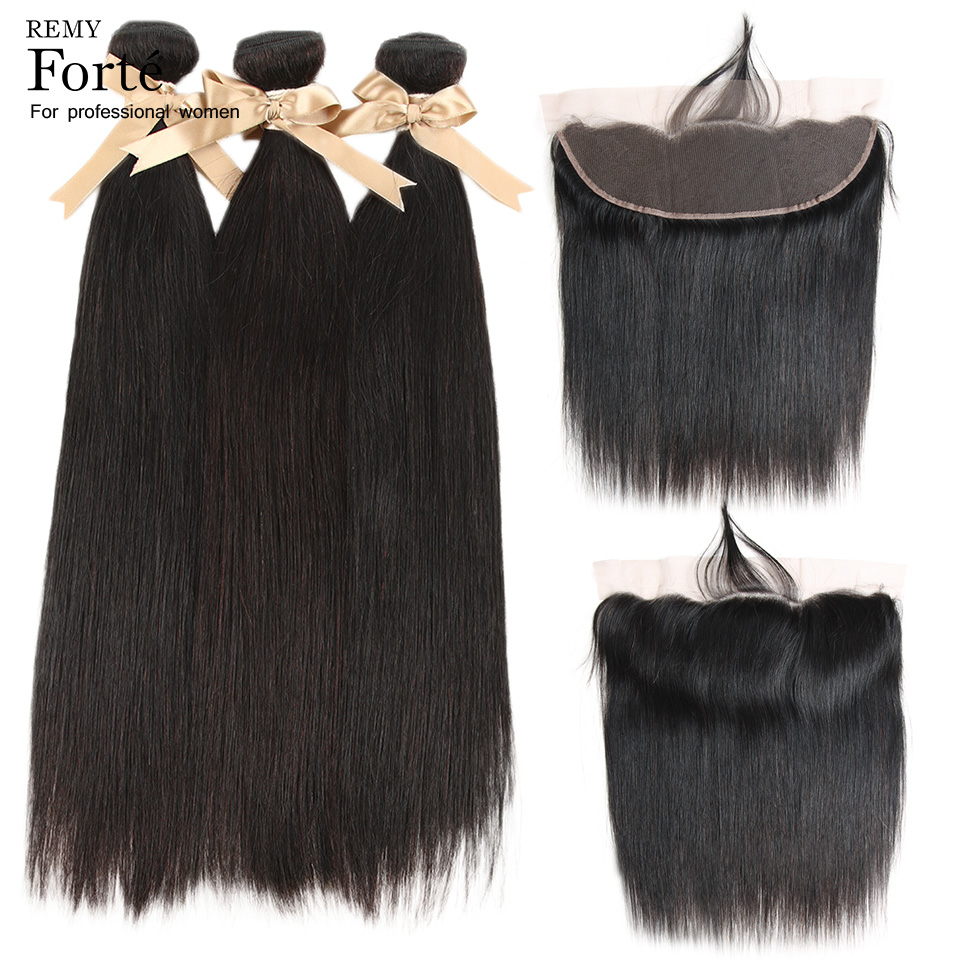 Remy Forte 30 Inch Bundles With Frontal Straight Hair Bundles With Closure Remy Brazilian Hair Weave Bundles With Frontal Office