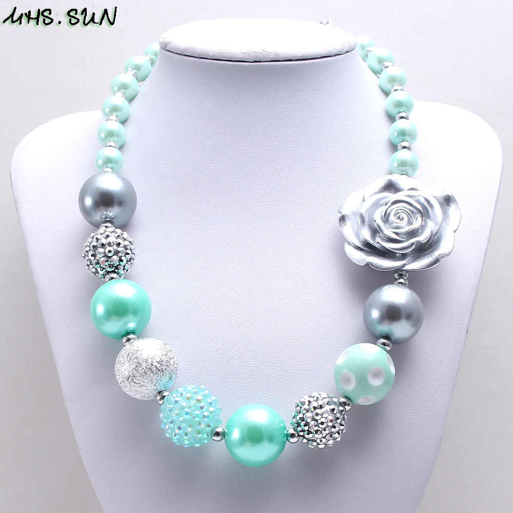 MHS.SUN 2019 spring new style baby chunky bubblegum necklace mint green+silver beads necklace for girls kids toy 1pc/lot