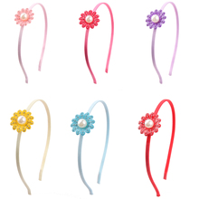 New Flower Pearl Solid Color Satin Ribbon Braided Hairband Headband customized Hair Accessories