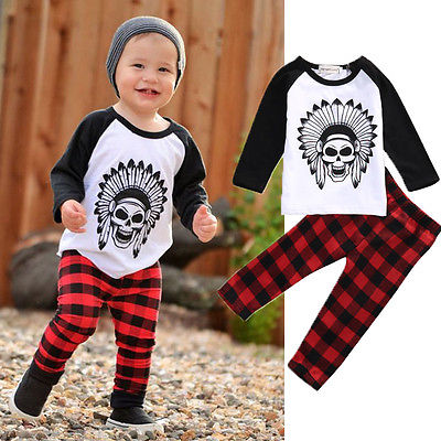 2016 Autumn Newborn Toddler Infant Baby Boys Girls Long Sleeve Skull Cotton Clothes +Plaid Long Pants Outfits Set