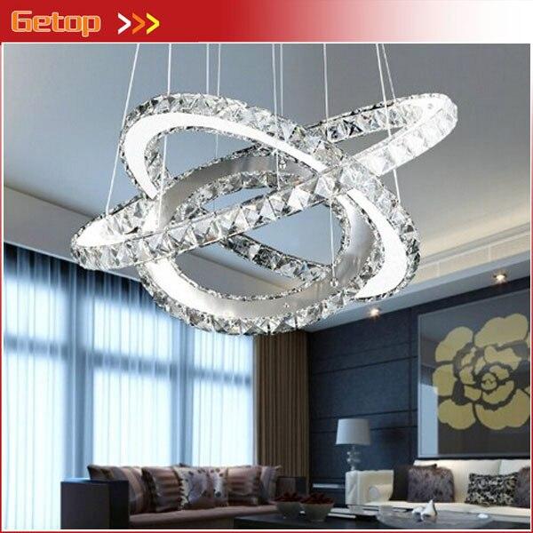 Modern K9 Crystal Chandelier <font><b>Diamond</b></font> Ring LED Pendant LampThree Rings (11.8 - 19.7 - 27.6 Inches) Fixture Lighting Free Style