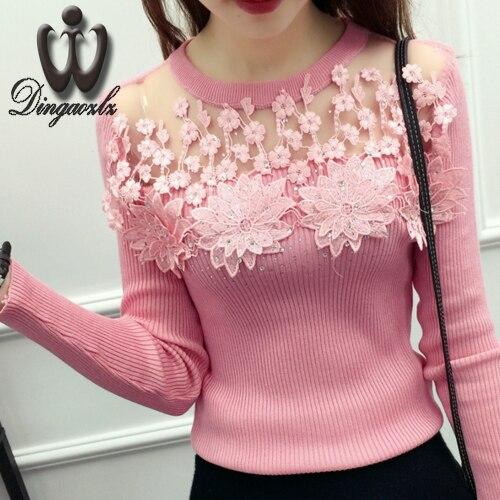 Moda ropa de mujer de encaje suéter camisa casual bordado de la flor de malla de