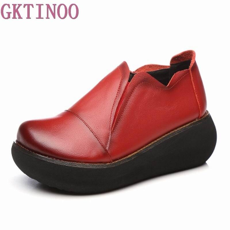 GKTINOO Spring Autumn Shoes Women Genuine Leather Breathable Pumps Wedges High Heels Shoes Fashion Platform Women Pumps