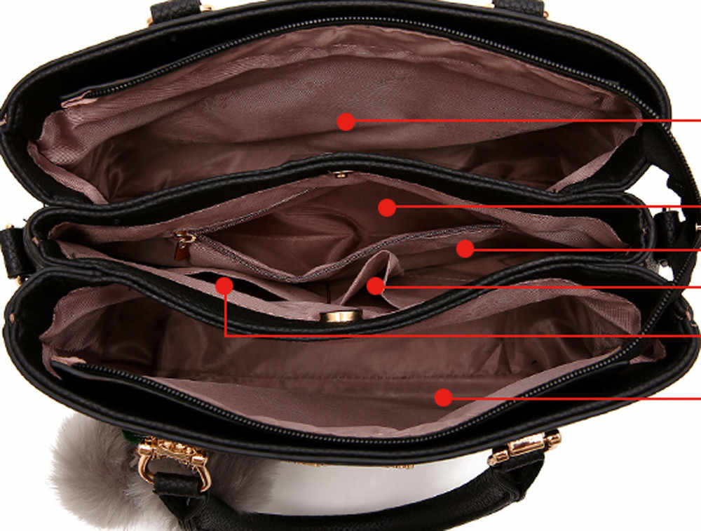 53ad2cfdce6 ... Luxury PU Leather Fake Designer Handbag With Hairball New Top Hot Sell Fashion  Handbag Bag Women ...