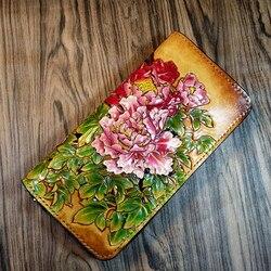 Женские кошельки ручной работы в китайском стиле, резная сумка на молнии с пионами, женский клатч из кожи растительного дубления, кошелек в ...