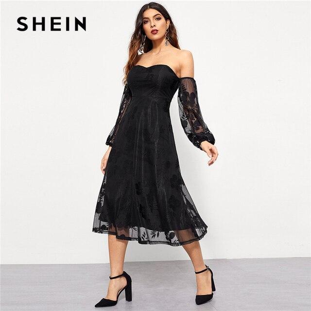 Shein Black Mesh Tube Top Off The Shoulder Sleeve Contrast