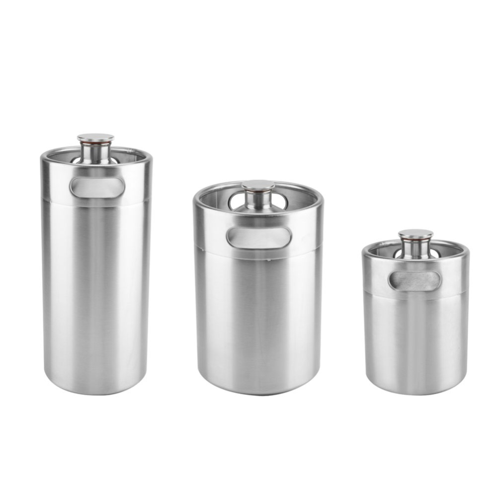 Mini Stainless Steel Beer Barrel with Spiral Cover Lid Practical Home Hotel Supplies