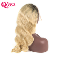 #1B/613 Blonde Lace Front Human Hair Wigs Brazilian Body Wave 130% Density Ombre Blonde Wig Non Remy Dreaming Queen Hair