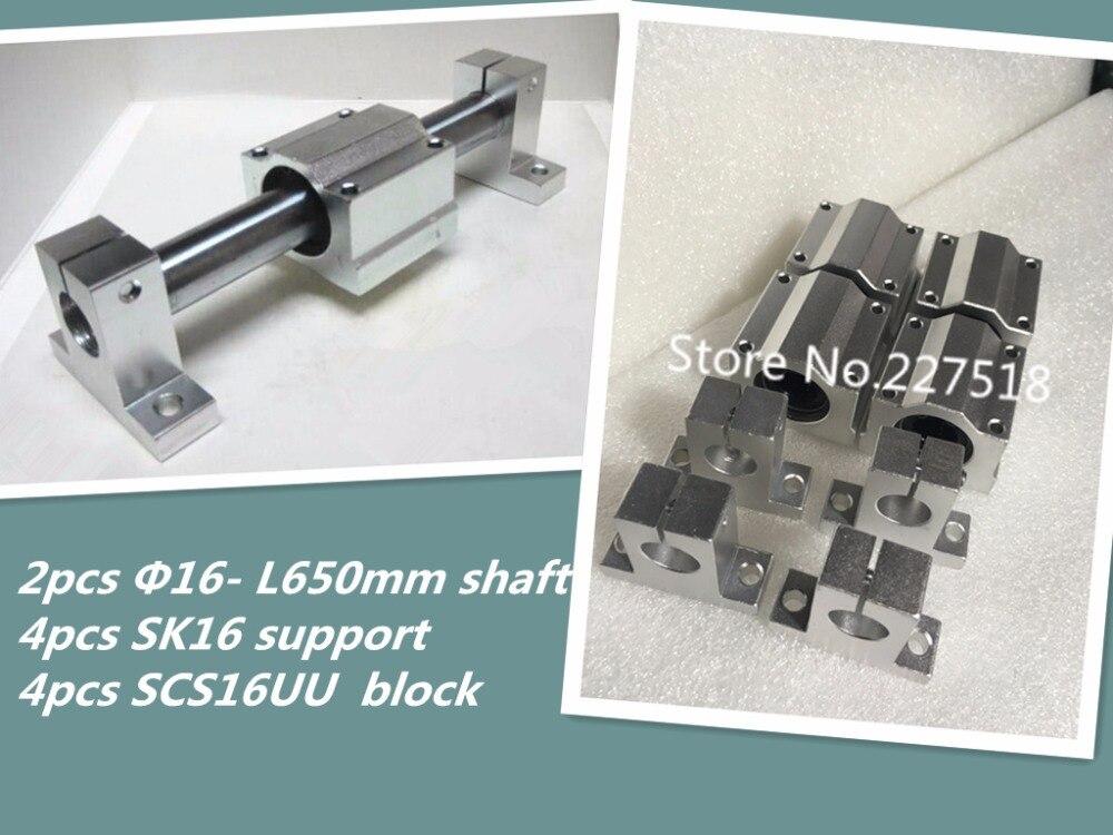 2pcs 16mm- L650mm linear round shaft +4pcs SCS16UU linear block bearing +4pcs SK16 support 6pcs lot sk16 16mm linear rail shaft guide support cnc brand new