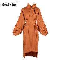 RelShe Women Spring Dresses Ladies Bow Tie Neck Lantern Sleeve Elegant Asymmetrical Party Dress Korean Women