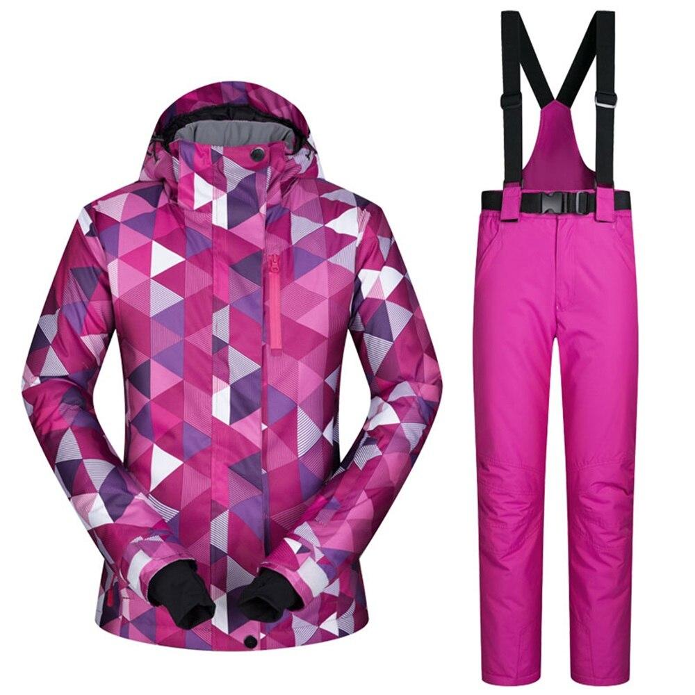 Prix pour Livraison gratuite femmes de snowboard costume d'hiver en plein air étanche windrpoof combinaison de ski ensemble ski snowboard veste et pantalon set femmes
