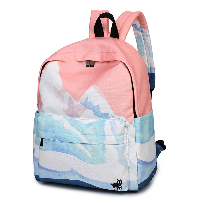 Moon Wood Landscape Printing Backpack Canvas School Travel Shoulder Bags Girls High Quality Candy Color Leisure Laptop Back Pack #2