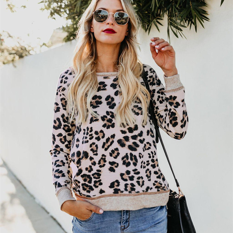 2019 Fall Clothing Women Sweatshirts Casual Leopard Hoodies O Neck Long Sleeve Pullover Tracksuit Outwear Shirt Top Streetwear