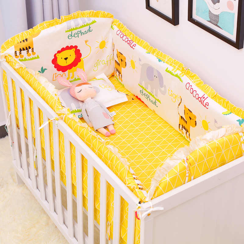 Whashable Kids Bed Protector Bumpers Baby Bedding Sets Newborns Crib Bedding Set Infant Cot Accessori Sheet Pillowcase 6Pcs/Set
