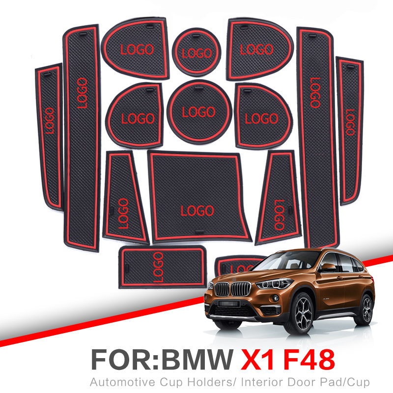 ZUNDUO alfombrilla para compartimento de puerta para BMW X1 F48 2011-2019 LHD almohadilla interior de puerta de coche de la Copa antideslizante esteras blanco rojo