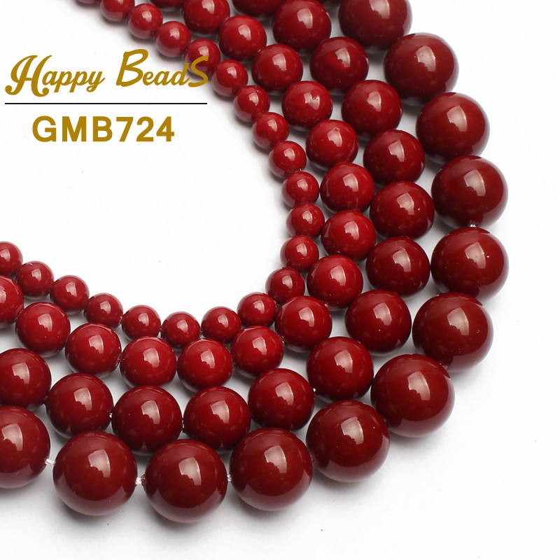 Natural Round Smooth Red Shell Pearl Beads For Jewelry Making Choker Making 15inches 6/8/10/12mm Diy Bracelet Jewellery(F01244)