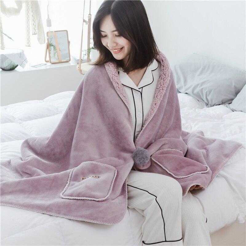 Solide couleur flanelle corail polaire velours couverture en peluche doux chaud portable châle multi fonction jeter canapé avion chaise couvertures