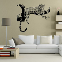 Wild Large Leopard Animal Wall Sticker Tiger 48cm*80cm Wall Decal Art Mural Home Decor Black Color