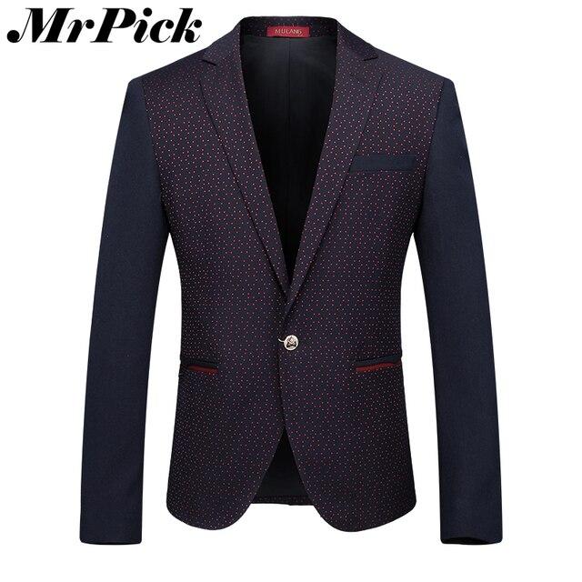 Chaqueta de La Chaqueta Casual de negocios Hombres 2016 Moda Spliced Polka Dot Hombres Floral Blazer Z3019-Euro