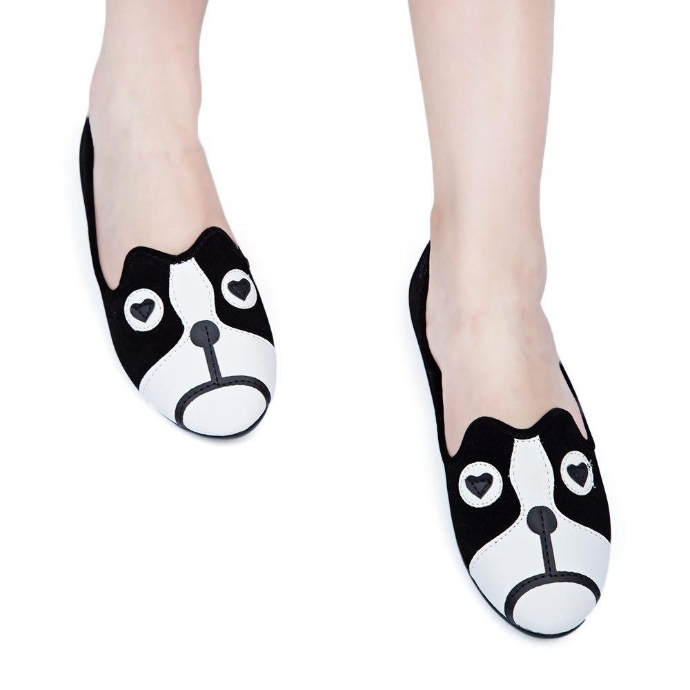 Estilo Casual de Primavera y Otoño Chicas Lindas Cerrado Toe Slip,On Zapatos Animales de