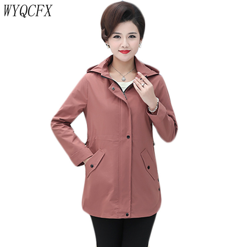 Fashion   Trench   Coat For Women Spring Autumn Adjustable Waist Outwear Large Size 5XL 2019 Middle-aged Elegant Hooded Windbreaker