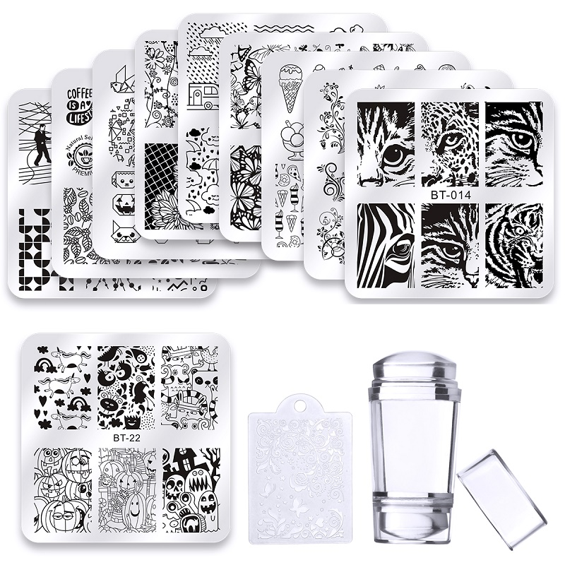 цена на 10 Pcs Square Nail Stamping Plates Set Halloween Flower Animal Pattern 6*6 cm Nail Art Stamp Template Image Stencils Tool Kits