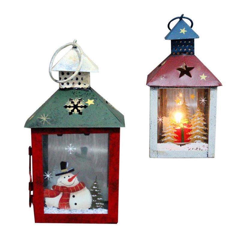 Christmas Metal Candlestick Candle Holder Lanterns Vintage