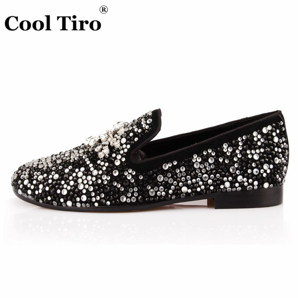 COOL TIRO Black White Strass Loafers Men Moccasins Crystals Tassel Suede Dress Shoes Flats Slippers Casual Shoes Mix Rhinestones-in Men's Casual Shoes from Shoes    3
