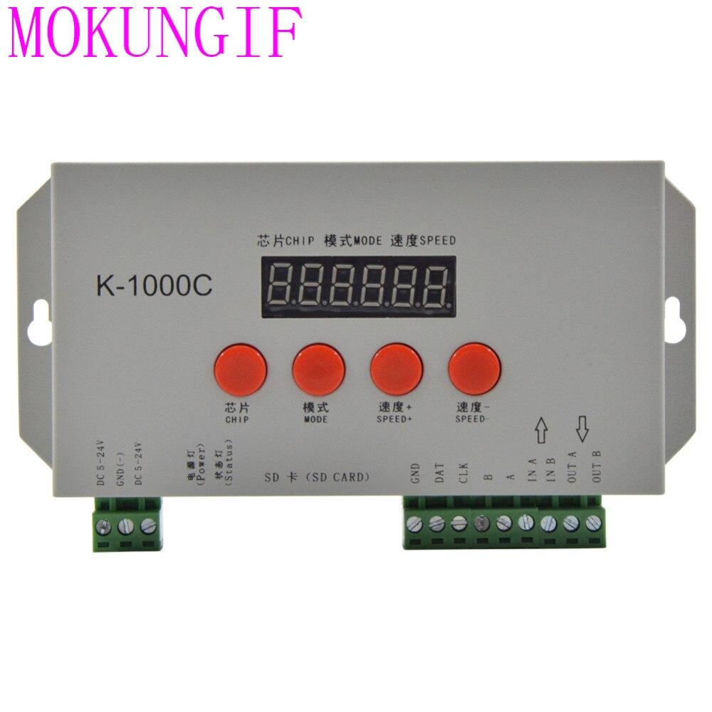10ピースK 1000C (t1000s更新) sdカード制御2048ピクセルコントローラフルカラー用ws2812b lpd8806 6803 ws2811 ws2801 5 24ボルト  グループ上の ライト & 照明 からの RGBコントローラ の中 1