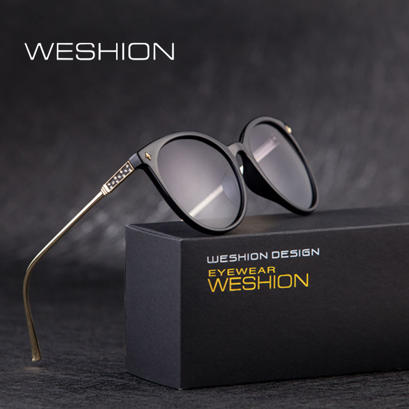 WESHION Women Polarized Sunglasses Brand Designer Infantil Oval Round Pink Eyeglasses Alloy Frame LadIies Anteojos De Sol Hombre ...