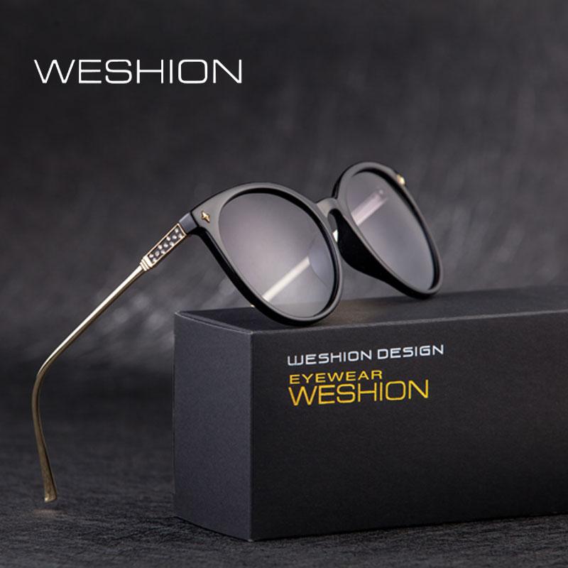 WESHION Women Polarized Sunglasses Brand Designer Infantil Oval Round Pink Eyeglasses Alloy Frame LadIies Anteojos De Sol Hombre ...