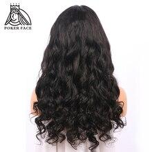 Покер лицо свободная волна 360 кружевных фронтальных париков 250% 10-26 дюймов сорванные натуральные бразильские человеческие волосы remy