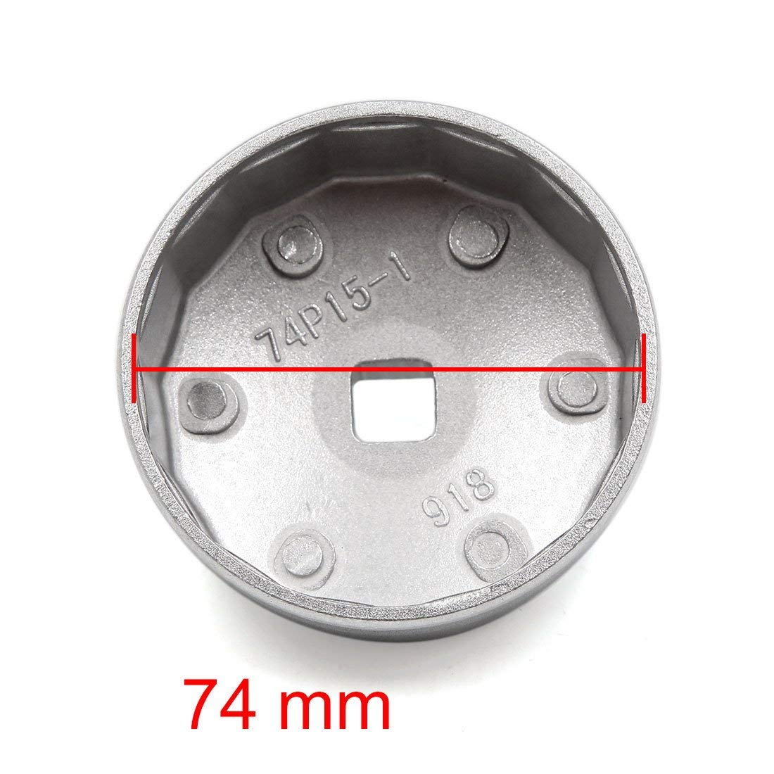 uxcell Aluminum Alloy 15 Flutes 74mm Cap Type Oil Filter Socket Wrench Tool for Car