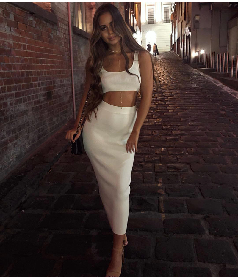 Women's White Ribbed Maxi Two Piece Skirt Set