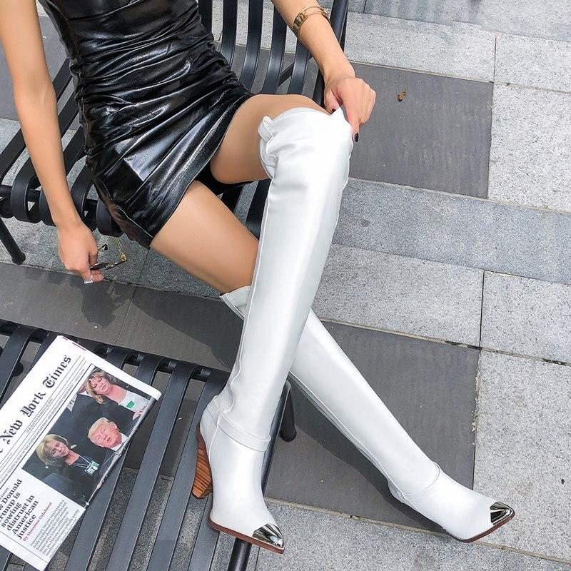 2019 플러스 사이즈 34 45 새로운 정품 가죽 부츠 여성 금속 하이힐 가을 겨울 무릎 부츠 섹시한 숙녀 허벅지 부츠-에서무릎위 부츠부터 신발 의  그룹 2
