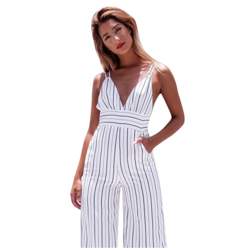 Women Sexy Long Playsuit Bodycon Party Jumpsuit Fashion Sleeveless Deep V-neck Striped Clubwear Romper Stylish Womens Jumpsuits