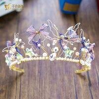 Barock Crown einzigartige frauen Tiara kristall Königin haarschmuck schmetterling schmuck haarband Braut Hochzeit Zubehör Geschenke yz057