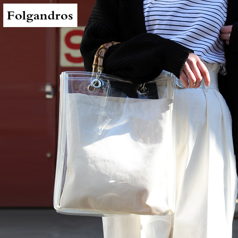 Luxury Japen Brand Bamboo Handle Bags Transparent PVC Leisure Women Shopping Bag Famous Designer Female Tote Bag Handbags Bolsas