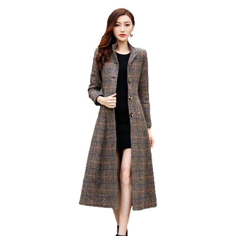 2019 ฤดูหนาวผู้หญิงคลาสสิกยาวเสื้อขนสัตว์ผู้หญิงเสื้อกันหนาวลายสก๊อต Womans เสื้อเสื้อผ้าแฟชั่นสไตล์เกาหลี X998-ใน ขนสัตว์และขนสัตว์ผสม จาก เสื้อผ้าสตรี บน   1