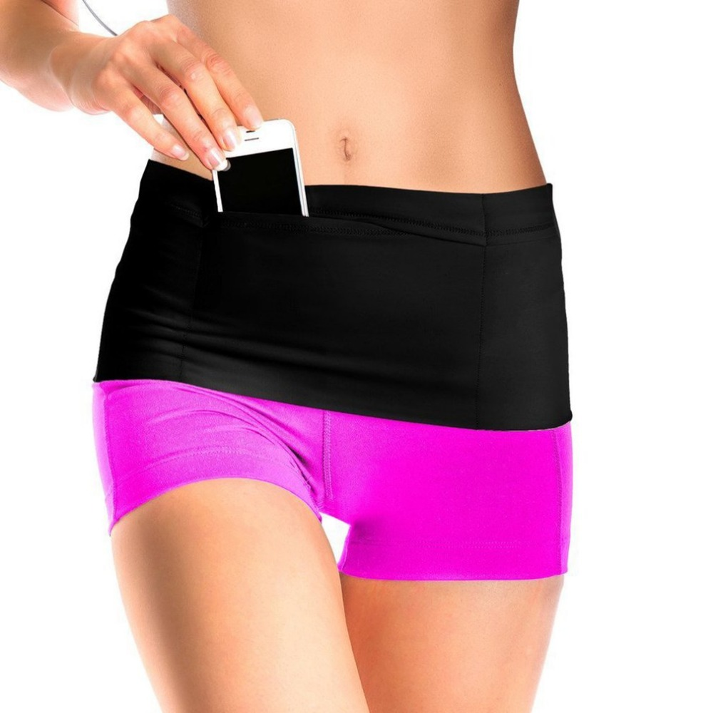 Elastic Running Belt Fitness Waist Belt Travel Money Storage Belt With Multi Pockets For All Size Mobile Phone Passport