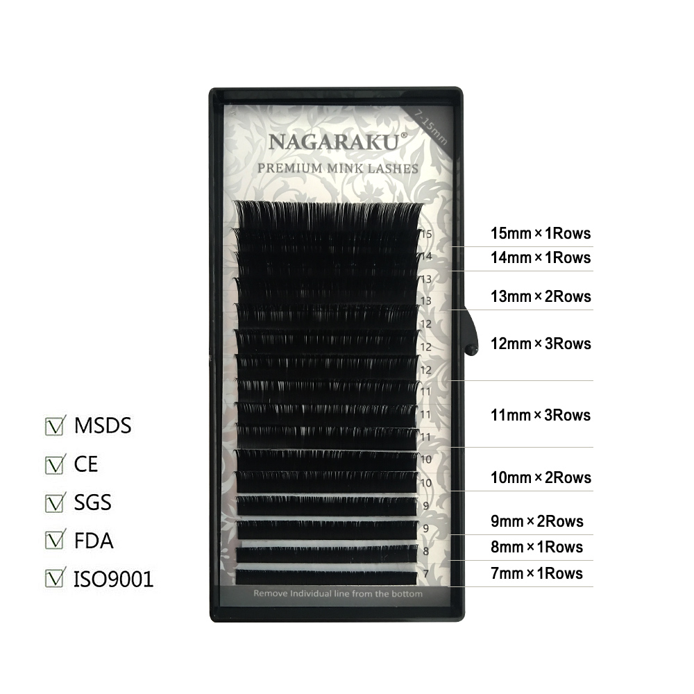 Image 5 - NAGARAKU  10 Trays/set 7 15mm Mixed In One Tray Eyelash Extension Individual eyelashes Mink Eyelash False eyelash Make up Tool-in False Eyelashes from Beauty & Health