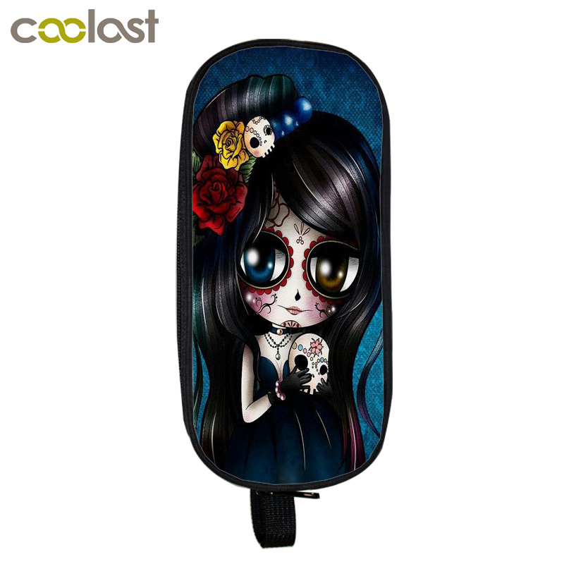 Cartoon Punk Gothic Girls Cosmetic Cases Pencil Holder Kids Gift Bag Children Case Boys Girls School Supplies Cases makeup bags  multifunction cosmetic cases women make up bag punk skull print kids boys pencil pen bag for school boys girls stationary holder