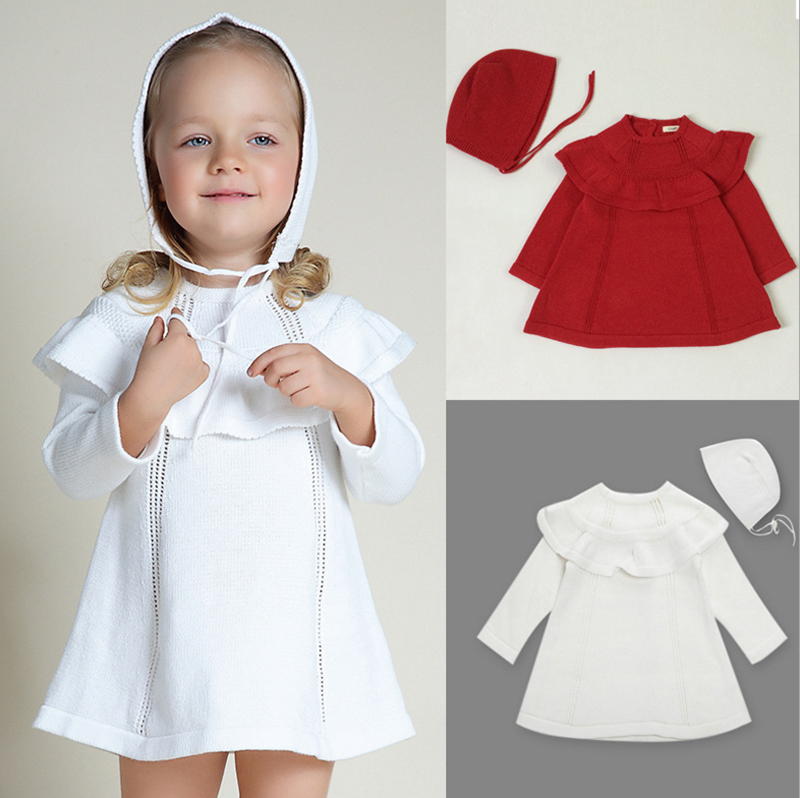 Baby Girl Pageant Knit Dresses With Hat Infant Sweater Little Girls 1 Year Birthday Party Dress Newborn Christening Gowns 9M-4T high quality toddler girls dress christening dress for girl infant 2 4 year birthday dress for baby girl