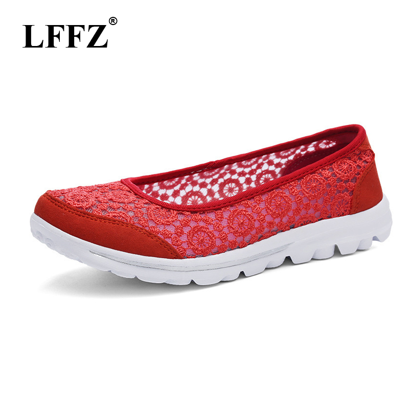 LFFZ 2018 New Fashion Spring Summer Hollow Breathable Women Shoes Casual Sneakers For Women Lace Shoes Light Flat Shoes JH122 pinsen fashion women shoes summer breathable lace up casual shoes big size 35 42 light comfort light weight air mesh women flats