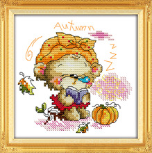 The four seasons little bear-autumn, counted printed on fabric 14CT 11CT Cross Stitch kits,embroidery needlework Sets Home Decor